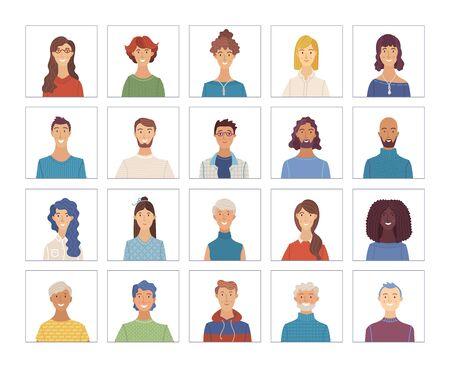 Ensemble de portraits d'hommes et de femmes de vecteur. Icônes de visage plat de diverses nationalités. européenne et afro-américaine. Blonde, brune, cheveux gris, jeune, âgée. Avatars pour compte, jeu ou forum