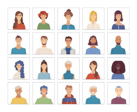 Vector men and woman portraits set. Flat face icons of various nationalities. European and Afro-American. Blonde, brunette, grey hair, young, aged. Avatars for account, game, or forum