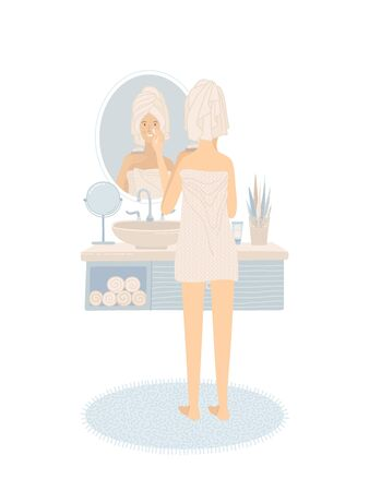 Young woman is standing in front of bathroom mirror. Girl holding cream in her hand and moisturizing to protects her skin. Everyday skincare routine. Flat vector illustration.