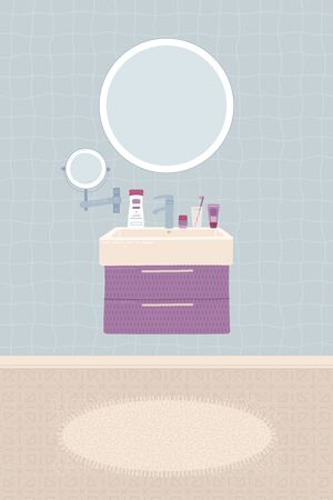 Cartoon bathroom interior background. Sink, faucet, mirror, closet, home decorations, carpet, toothbrush, and hygiene items. Flat colorful vector illustration.