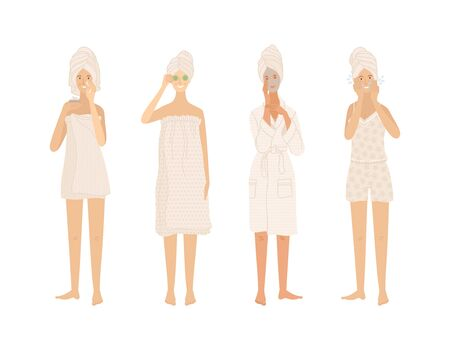 Beautiful young women standing in towels and bathrobe take care of their skin. Cleaning skin, moisturizing, applying beauty mask. Flat cartoon vector illustration on white background.