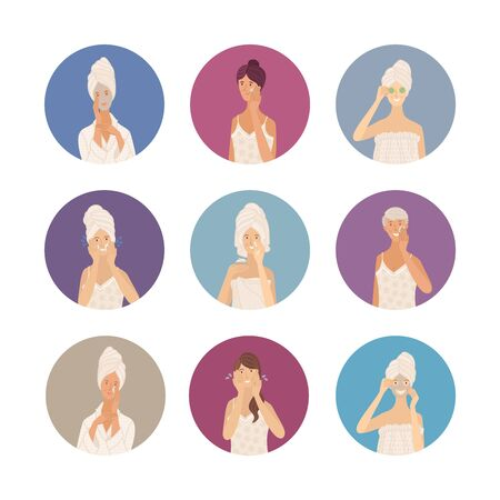 Beautiful young women in towel, pajama, underwear, and bathrobe. Take care of skin. Cleaning, washing, moisturizing, beauty mask cartoon characters. Flat vector illustrations in circles color drawings