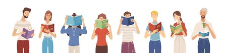 People reading books banner. Happy young men and women holding books and standing in a row. Students studying and preparing for exams. Vector illustration in flat cartoon style