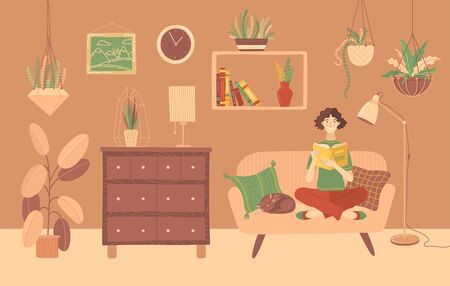 Young woman reading book at home on sofa. Stay at home vector illustration. Happy girl relaxing with a book in cozy living room. Literature hobby and happy lifestyle. E-learning and education.