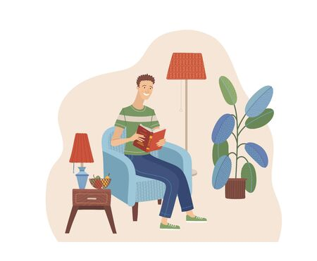 Young man reading book in armchair. Stay at home concept. Happy boy relaxing with book in cozy room interior vector illustration in flat style. Literature hobby and happy lifestyle. Distance education