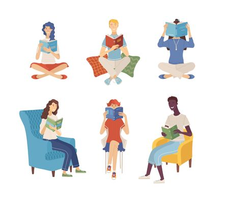 People reading books while sitting on floor and in armchairs. Young men and women holding books. Diverse characters in flat cartoon style. Literary fans and book lovers isolated vector illustration.