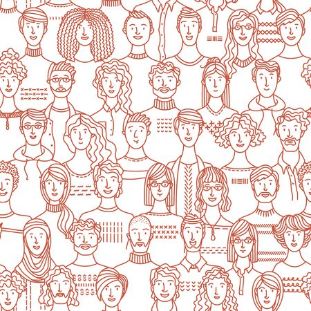 Diverse crowd of people. Society and population. Social community seamless pattern in linear style. Mono color fabric, textile, wrapping paper, wallpaper vector design
