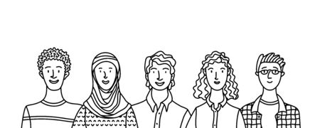 Multicultural adult men and women standing together. International community concept with diverse people outline vector illustration. Multiethnic group of people. Cultural and religion equality