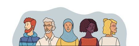 Group portrait of diverse people. Smiling men and women standing together. Web banner with happy students or work team. Outline cartoon vector multi-ethnic poster. Caucasian, African, Muslim