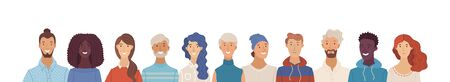 Multicultural happy adult men and women standing together. International community concept with diverse people. Vector flat illustration. Web banner with happy students or work team. Cultural and religion equality. Ilustração