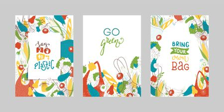 Greengrocery purchases vector banners set. Textile reusable shopping bags with fresh greens flat illustrations. Blank vegetable borders collection. Healthy produce in eco handbags. Zero waste