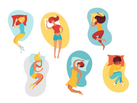 Sleeping women flat illustrations set. Female sleepers cartoon characters. Asleep girls with pillows portraits in shapes color drawings. Different poses, body comfortable positions pack
