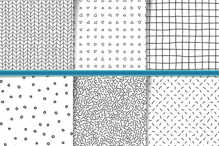 Abstract hand drawn monocolor seamless patterns set. Fabric flaps, textile patches pack. Black and white backgrounds hand drawn geometric shapes. Irregular linear triangles, lines, circles backdrops