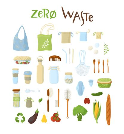 Recyclable products, hygienic and kitchen items flat icons set. Eco bags and sacks, vegetarian eating  illustrations pack. Natural food and packagings isolated on white background Ilustração