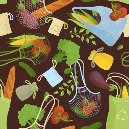 Organic products in recyclable handbags seamless pattern. Vegetarian food in eco friendly bags. Greens and bakery in eco sacks fabric, textile, wrapping paper, wallpaper color design