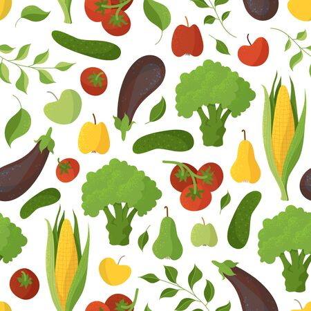 Vegetables and fruits, seasonal greens seamless pattern. Healthy nutrition, organic food. Fresh natural products creative fabric, textile, wrapping paper, wallpaper color design Ilustração