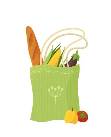 Reusable handbag with products flat illustration. Recyclable shopping bag with greens and bakery. Vegan food, fruits and vegetables in eco friendly package isolated on white background Ilustração