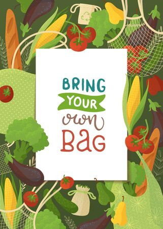 Blank frame on vegetable background flat illustration. Square border backdrop. Fresh veggies and bakery, vegan nutrition, healthy products. Organic food and recyclable handbags