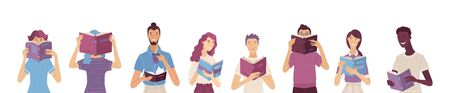 Group of people reading books. Cartoon men and women stand and hold a book in their hands. Book lovers, students, self-education consept. Book festival banner template