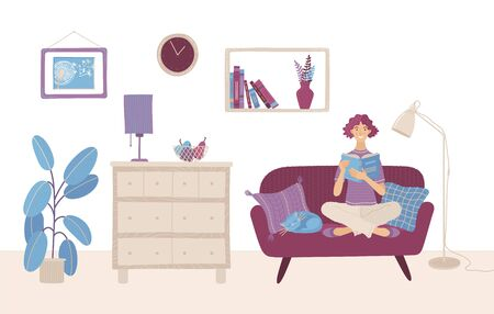 A woman is sitting on a sofa and reading a book. Girl is at home and preparing for the exam with open book in her hands. Reading hobby concept. Flat illustration. Living room interior design