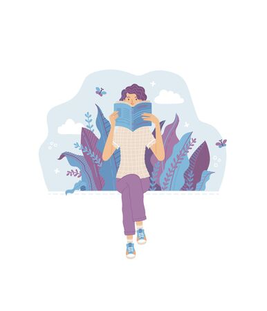 Read the books! Book lover and romantic literature fan character. Library poster concept. Woman sits and holds an open book in her hands. Ilustração