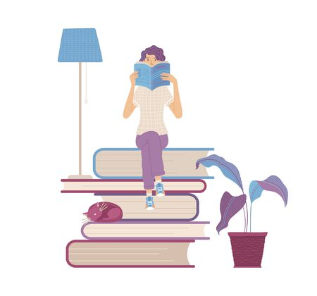 Woman sitting on books pile and reading a book. Student studying and preparing for exam. Flat illustration. Young girl is book lover and literature fan. E-learning or self education concept