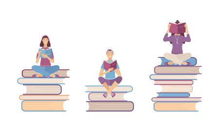 People read books. Students study and prepare for exams. Readers sit on books piles. Cartoon characters for library or online courses presentation. Flat illustration Ilustração