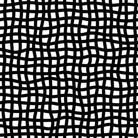 Checkered doodle seamless pattern. Irregular vertical and horizontal hand-drawn lines. Black and white texture. Ink pen freehand line art.