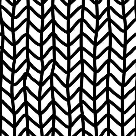 Vector knitted seamless pattern. Looks like an irregular zigzag and vertical lines handdrawn texture. Ink pen freehand crankles line art. Fabric, textile, wrapping paper, wallpaper minimalistic design
