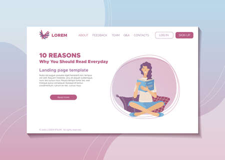 10 reasons why you should read everyday banner. Self education and intellectual health landing page. Young smiling woman reading book vector illustration. Mental stimulation and stress reduction.
