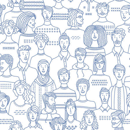 Crowd of various men and women in linear style. Vector boundless background with various people. Textile, fabric, wrapping paper, wallpaper mono color vector design