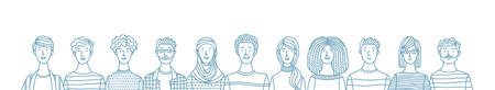 Multicultural smiling adult men and women standing together. International community concept with diverse people vector outline illustration. Multiethnic group of happy people. Cultural and religion equality.