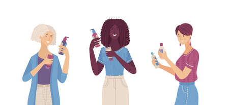 Three woman holding cosmetics in their hands. Smiling female characters choosing between two skincare products. Elder woman, young, and Afro-American. Comparing shampoo, cream, or lotion flat concept