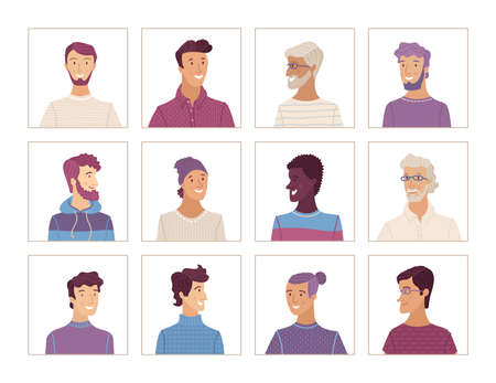 Vector men portraits set. Flat face icons of various nationalities. European, African American, Asian, Latin American. Blonde, brunette, gray hair, young, aged. Avatars for account, game, or forum.