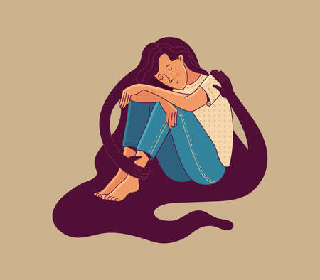 Cute woman character sitting hugged by creature silhouette hands on beige background as symbol of mental health psychotherapy self care compassion