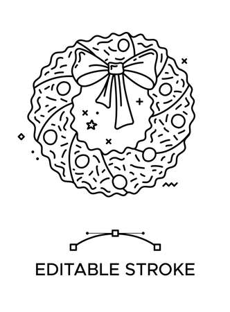 Christmas wreath linear icon. Thick line pictogram. Isolated outline vector illustration. Duotone contour symbol. Editable stroke. Pixel perfect