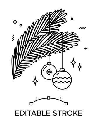 Pine branches with baubles outline icon. Thick line pictogram. Isolated linear vector illustration. Duotone contour symbol. Editable stroke. Pixel perfect