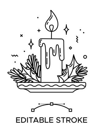 Christmas candle linear icon. Thick line pictogram. Isolated outline vector illustration. Duotone contour symbol. Editable stroke. Pixel perfect