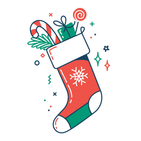 Christmas Santa sock color flat icon. Thin line and fill pictogram. Isolated vector illustration with contour. Editable stroke. Pixel perfect