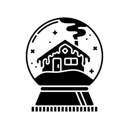 Snow globe with house black glyph icon. Silhouette on white background. Flat pictogram. Vector isolated illustration. Negative space. Duotone solid symbol. Pixel perfect Vector Illustration