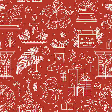 Christmas linear seamless pattern. Red and white vector texture. Christmas tree and gifts, fireplace with socks, snowman and wreath, snow globe with house, Santa sleigh. Festive wrapping paper design
