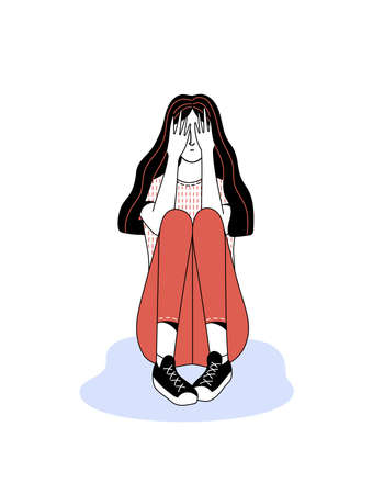 Scared young long haired lady character hiding face by palms on white background as illustration of mental disorder and psychotherapy concept 矢量图像