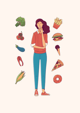 Young woman choosing between healthy and junk food cartoon vector illustration. Fish, tomatoes, vegetables or fries, donut, ice-cream, pizza, burger. Fast food vs balanced meal flat isolated clipart