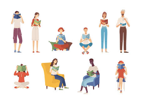 People reading books while sitting or standing. Students studying. Happy young men and women holding books. Isolated vector illustration. Literary fans and book lovers in flat cartoon style