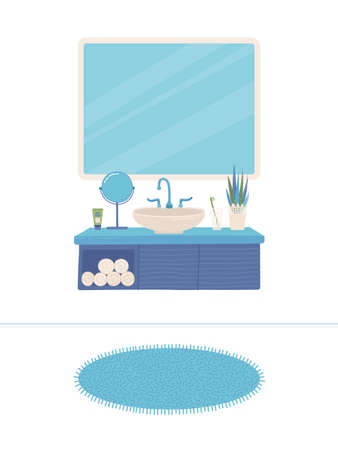 Cartoon bathroom interior background. Sink, faucet, mirror, closet, home decorations, flower, towels, toothbrush, carpet, and hygiene items. Flat colorful vector illustration. White background