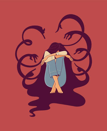 Young stressed female character sitting and silhouettes of creature hands with pointing fingers on red background as illustration of bullying and psychotherapy