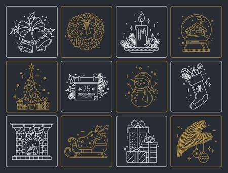 Christmas monocolor linear icons set. Thick line pictogram. Outline vector illustration. Duotone contour symbol. Editable stroke. Pixel perfect