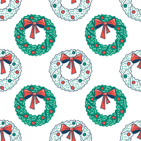 Christmas wreath with bow flat seamless pattern. Green and red vector texture. Festive cartoon wrapping paper design
