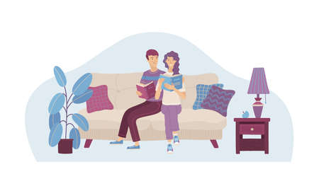 Couple in love reading books on sofa. Happy young man and woman spending weekend together. Interested girl and boy relaxing with book in cozy living room vector illustration. Family holiday at home