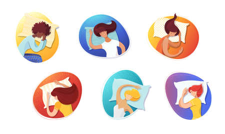 Sleeping women flat illustrations set. Female sleepers cartoon characters. Asleep girls with pillows portraits in circles color drawings. Different poses, body comfortable positions pack